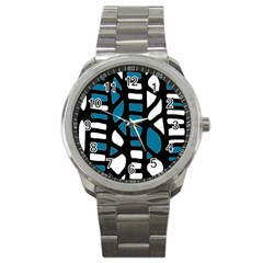 Blue Decor Sport Metal Watch by Valentinaart