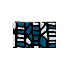 Blue Decor Cosmetic Bag (small)  by Valentinaart
