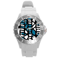 Blue Decor Round Plastic Sport Watch (l) by Valentinaart