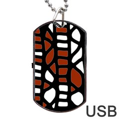 Red Decor Dog Tag Usb Flash (one Side) by Valentinaart