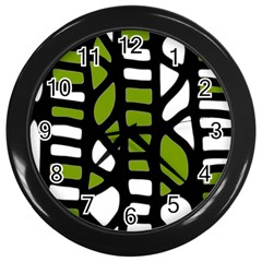 Green Decor Wall Clocks (black) by Valentinaart