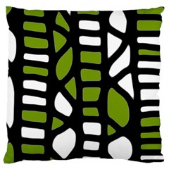 Green Decor Large Cushion Case (two Sides) by Valentinaart