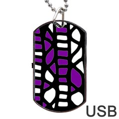 Purple Decor Dog Tag Usb Flash (two Sides)  by Valentinaart