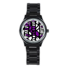 Purple Decor Stainless Steel Round Watch by Valentinaart