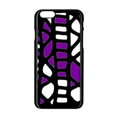 Purple Decor Apple Iphone 6/6s Black Enamel Case by Valentinaart