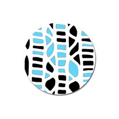 Light Blue Decor Magnet 3  (round) by Valentinaart