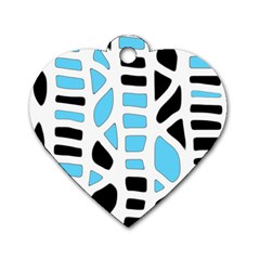 Light Blue Decor Dog Tag Heart (one Side)