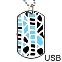 Light Blue Decor Dog Tag Usb Flash (one Side) by Valentinaart