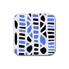 Blue Decor Rubber Coaster (square)  by Valentinaart