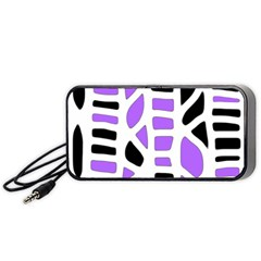 Purple Abstract Decor Portable Speaker (black)  by Valentinaart