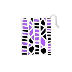 Purple Abstract Decor Drawstring Pouches (xs)