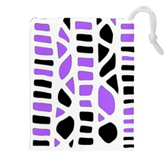 Purple Abstract Decor Drawstring Pouches (xxl)
