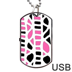 Pink Decor Dog Tag Usb Flash (one Side)