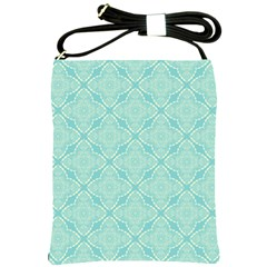 Light Blue Lattice Pattern Shoulder Sling Bags by TanyaDraws