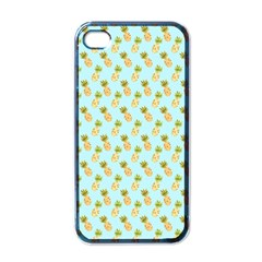 Tropical Watercolour Pineapple Pattern Apple Iphone 4 Case (black) by TanyaDraws
