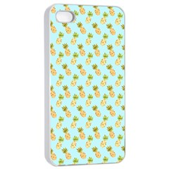 Tropical Watercolour Pineapple Pattern Apple Iphone 4/4s Seamless Case (white) by TanyaDraws