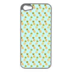 Tropical Watercolour Pineapple Pattern Apple Iphone 5 Case (silver) by TanyaDraws