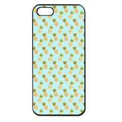 Tropical Watercolour Pineapple Pattern Apple Iphone 5 Seamless Case (black) by TanyaDraws