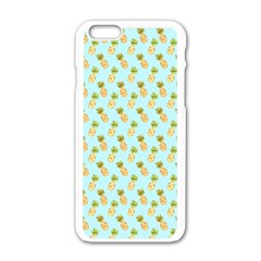 Tropical Watercolour Pineapple Pattern Apple Iphone 6/6s White Enamel Case by TanyaDraws