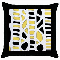 Yellow Decor Throw Pillow Case (black) by Valentinaart