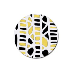 Yellow Decor Rubber Round Coaster (4 Pack)  by Valentinaart