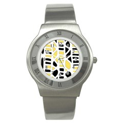 Yellow Decor Stainless Steel Watch by Valentinaart