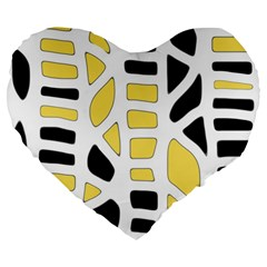 Yellow Decor Large 19  Premium Flano Heart Shape Cushions by Valentinaart