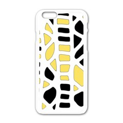 Yellow Decor Apple Iphone 6/6s White Enamel Case by Valentinaart