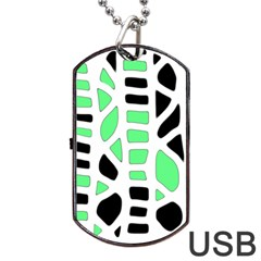 Light Green Decor Dog Tag Usb Flash (one Side) by Valentinaart