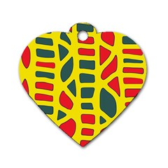 Yellow, Green And Red Decor Dog Tag Heart (one Side) by Valentinaart