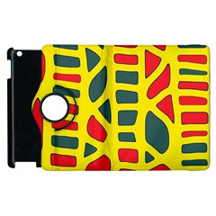 Yellow, Green And Red Decor Apple Ipad 2 Flip 360 Case by Valentinaart