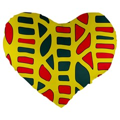 Yellow, Green And Red Decor Large 19  Premium Heart Shape Cushions by Valentinaart