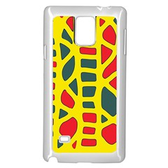 Yellow, Green And Red Decor Samsung Galaxy Note 4 Case (white) by Valentinaart