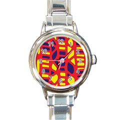 Red, Yellow And Blue Decor Round Italian Charm Watch by Valentinaart