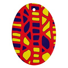 Red, Yellow And Blue Decor Ornament (oval)