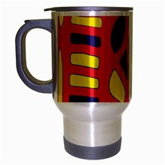 Red, Yellow And Blue Decor Travel Mug (silver Gray) by Valentinaart