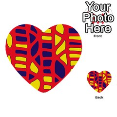 Red, Yellow And Blue Decor Multi Purpose Cards (heart)  by Valentinaart