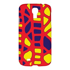 Red, Yellow And Blue Decor Samsung Galaxy S4 I9500/i9505 Hardshell Case by Valentinaart