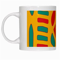 Abstract Decor White Mugs