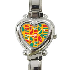 Abstract Decor Heart Italian Charm Watch by Valentinaart