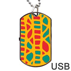 Abstract Decor Dog Tag Usb Flash (one Side) by Valentinaart