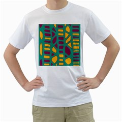 Green, Purple And Yellow Decor Men s T-shirt (white) (two Sided) by Valentinaart