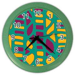 Green, Purple And Yellow Decor Color Wall Clocks by Valentinaart