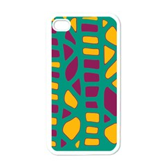 Green, Purple And Yellow Decor Apple Iphone 4 Case (white) by Valentinaart