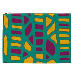 Green, Purple And Yellow Decor Cosmetic Bag (xxl)  by Valentinaart