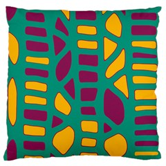 Green, Purple And Yellow Decor Large Flano Cushion Case (two Sides) by Valentinaart