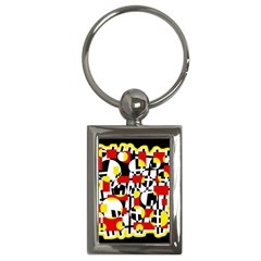 Red And Yellow Chaos Key Chains (rectangle)  by Valentinaart