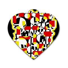 Red And Yellow Chaos Dog Tag Heart (two Sides) by Valentinaart