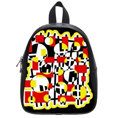 Red And Yellow Chaos School Bags (small)  by Valentinaart