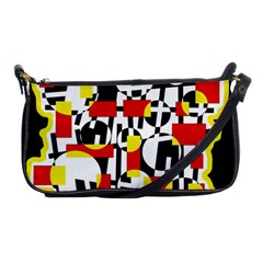 Red And Yellow Chaos Shoulder Clutch Bags by Valentinaart